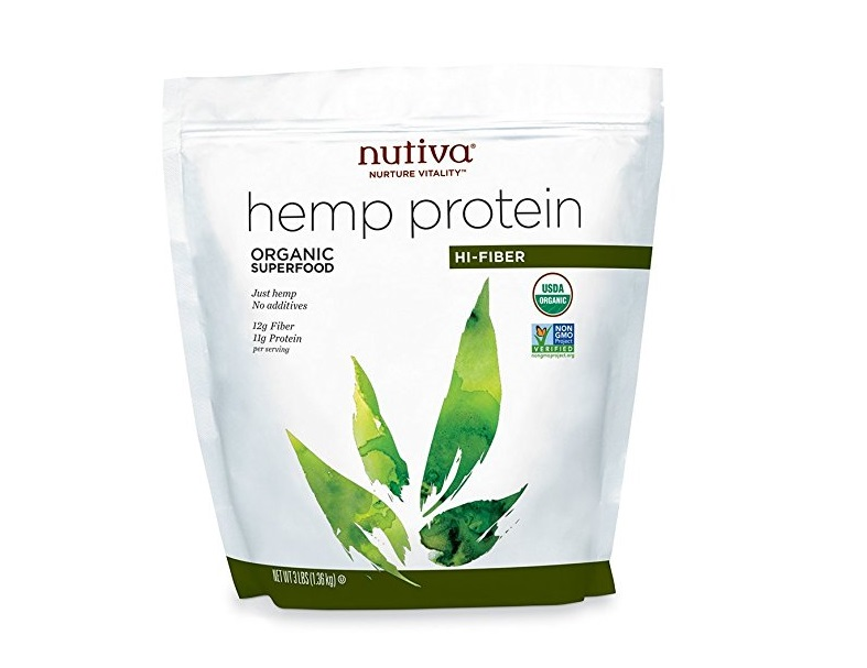 5. Nutiva Organic, Cold-Processed Hemp Protein from non-GMO, Sustainably Farmed Canadian Hempseed, Hi-Fiber, 3-Pound Bag