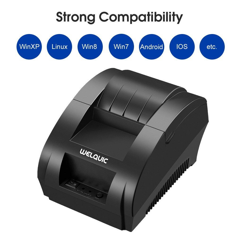 5. WELQUIC Small Portable USB Thermal Receipt Printer Compatible with Bill Ticket Barcode
