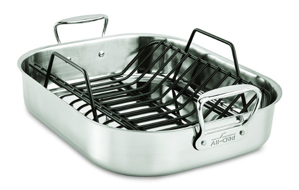 All-Clad E752C264 Stainless Steel Dishwasher Safe Large 13-Inch x 16-Inch Roaster, 16-Inch