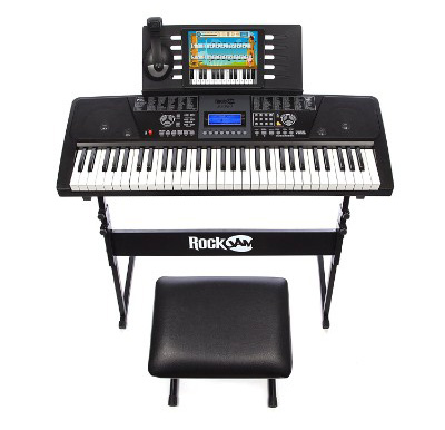 RockJam 61-Key Electronic Keyboard Super Kit with Stand, Stool, Headphones & Power Supply