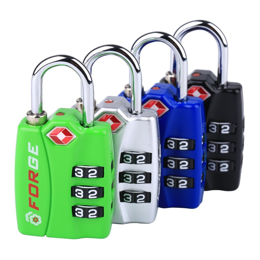 6. Forge TSA Lock 4 Pack 4 Colors - Open Alert Indicator, Alloy Body, Easy Read Dials