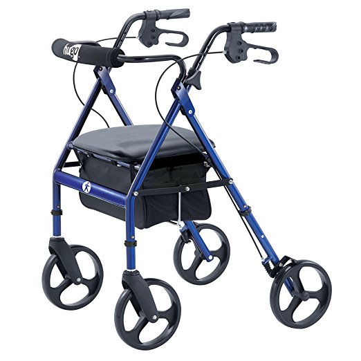 6. Hugo Portable Rollator Walker with Seat, Backrest and 8 Inch Wheels, Blue