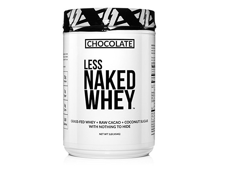 6. Less Naked Whey Chocolate Protein 1LB - All Natural Grass Fed Whey Protein Powder, Organic Chocolate, and Coconut Sugar - GMO, Soy, and Gluten Free Aid M