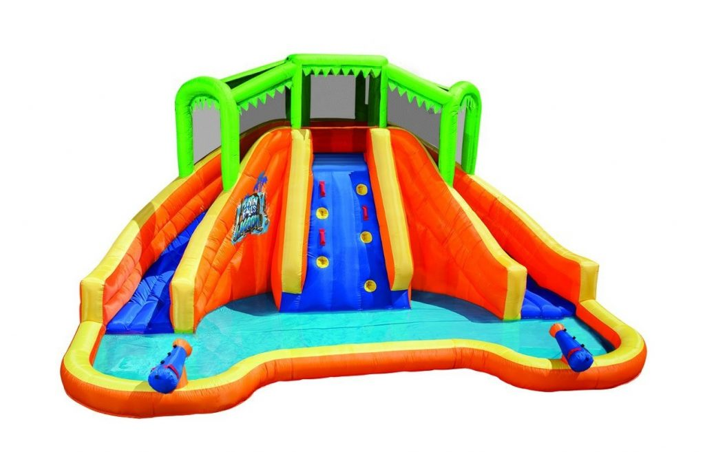 7. Banzai Twin Falls Lagoon Inflatable Water Slide with Climbing Wall and 2 Cannons