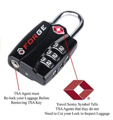 7. Forge TSA Luggage Locks - Open Alert Indicator, Easy Read Dials, Alloy Body