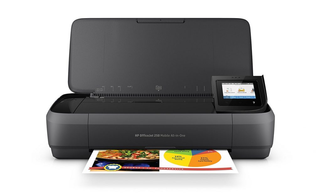 7. HP OfficeJet 250 All-in-One Portable Printer with Wireless & Mobile Printing (CZ992A)