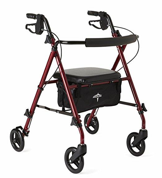 7. Medline Freedom Mobility Lightweight Folding Aluminum Rollator Walker with 6-inch Wheels, Adjustable Seat and Arms, Burgundy