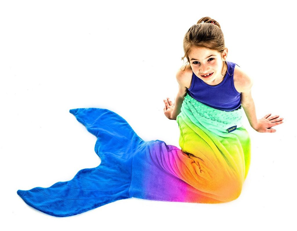 7. The Original Blankie Tails Mermaid Tail Blanket for Kids (Rainbow Ombre)