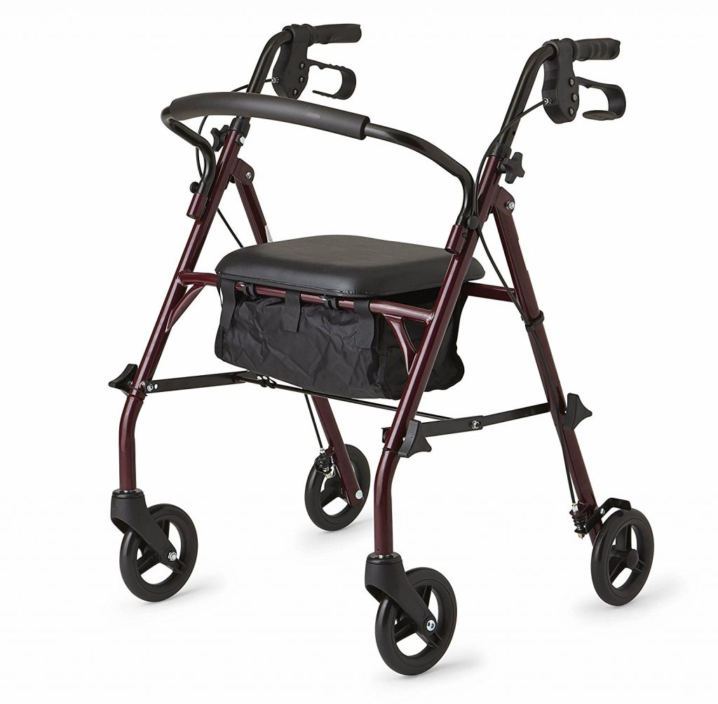 8. Healthcare Direct 100RA Steel Rollator Walker with 350 lb. Weight Capacity, Burgundy