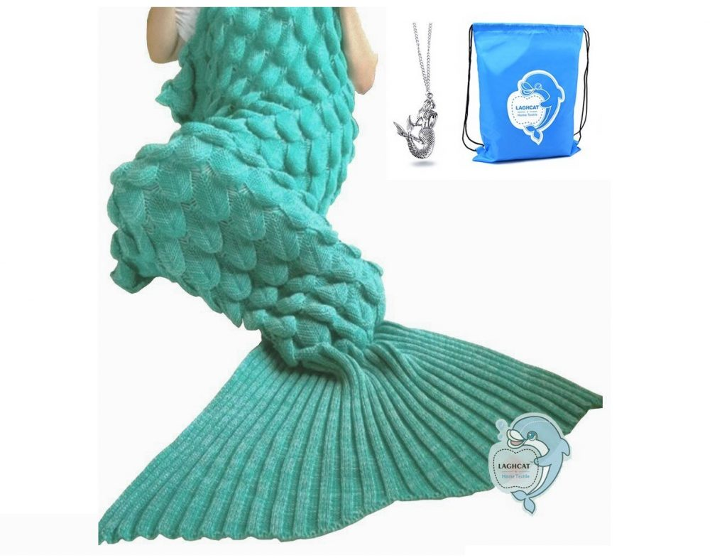 8. LAGHCAT Mermaid Tail Blanket with Scale Knit Crochet Mermaid Blanket for Adult,