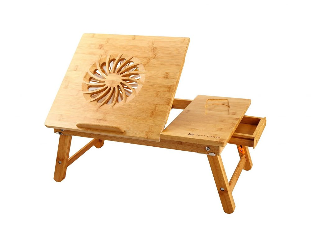 8. Laptop Desk Nnewvante Adjustable Laptop Desk Table 100% Bamboo with USB Fan Foldable Breakfast Serving Bed Tray w' Drawer