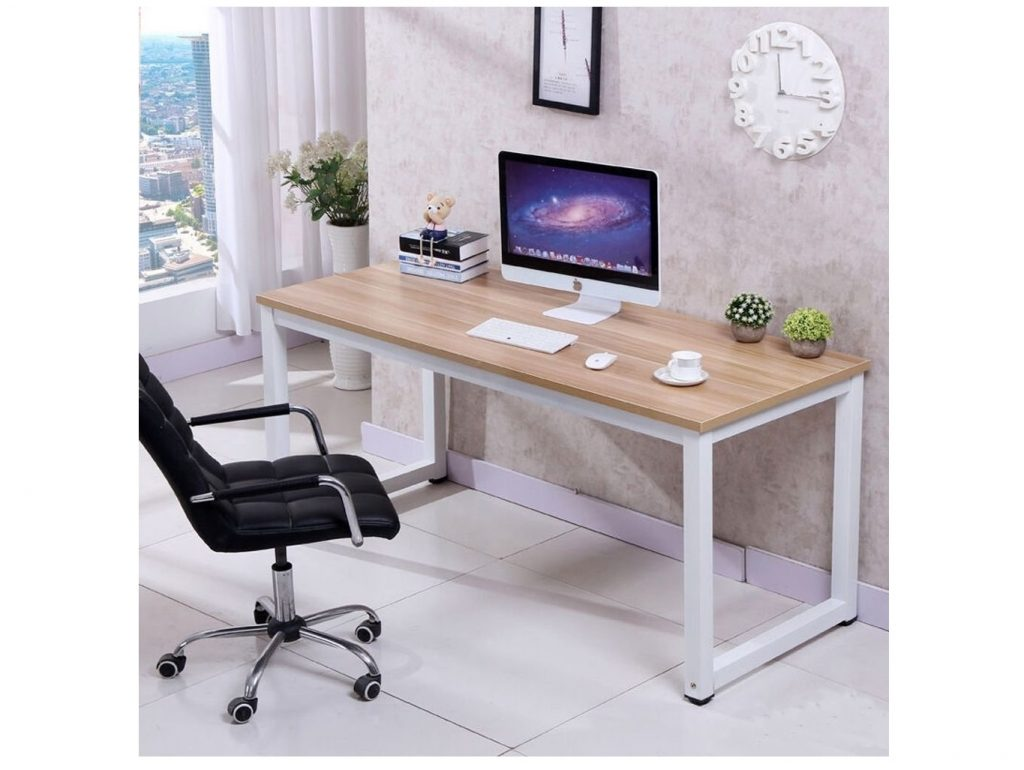 8. Love+Grace Computer Desk PC Laptop Table Wood Work-Station Study Home Office Furniture, White