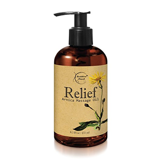 8. Relief Arnica Massage Oil – Great for Sports & Athletic Therapeutic Massage