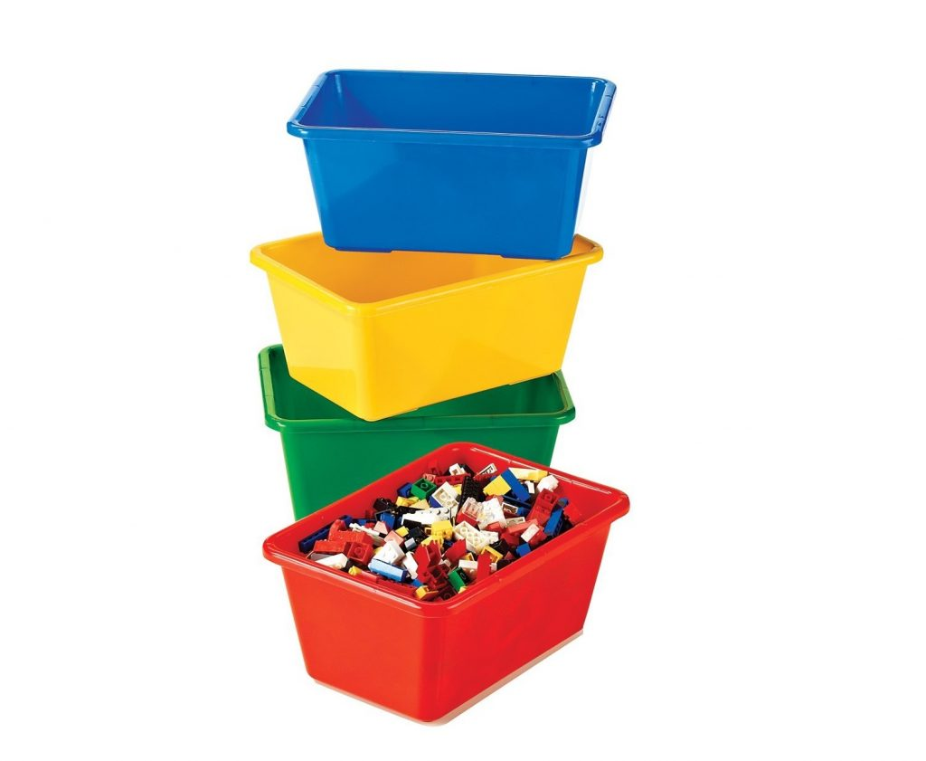 8. Tot Tutors Kids' Primary Colors Small Storage Bins, Set of 4