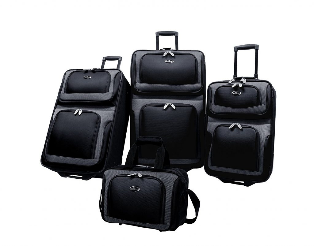 8. U.S Traveler New Yorker Lightweight Expandable Rolling Luggage 4-Piece Suitcases Sets - Black