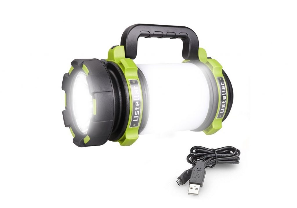 8. Ustellar Rechargeable 1000LM CREE LED Spotlight, Multi Function Outdoor Camping Lantern Flashlight