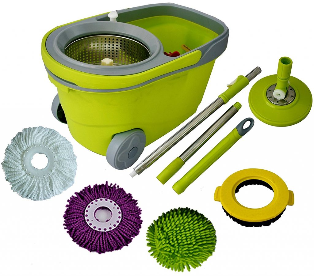 9. Green Direct Spin Mop and Bucket Deluxe Cleaning System with Microfiber Head, Easy Spinning Wringer