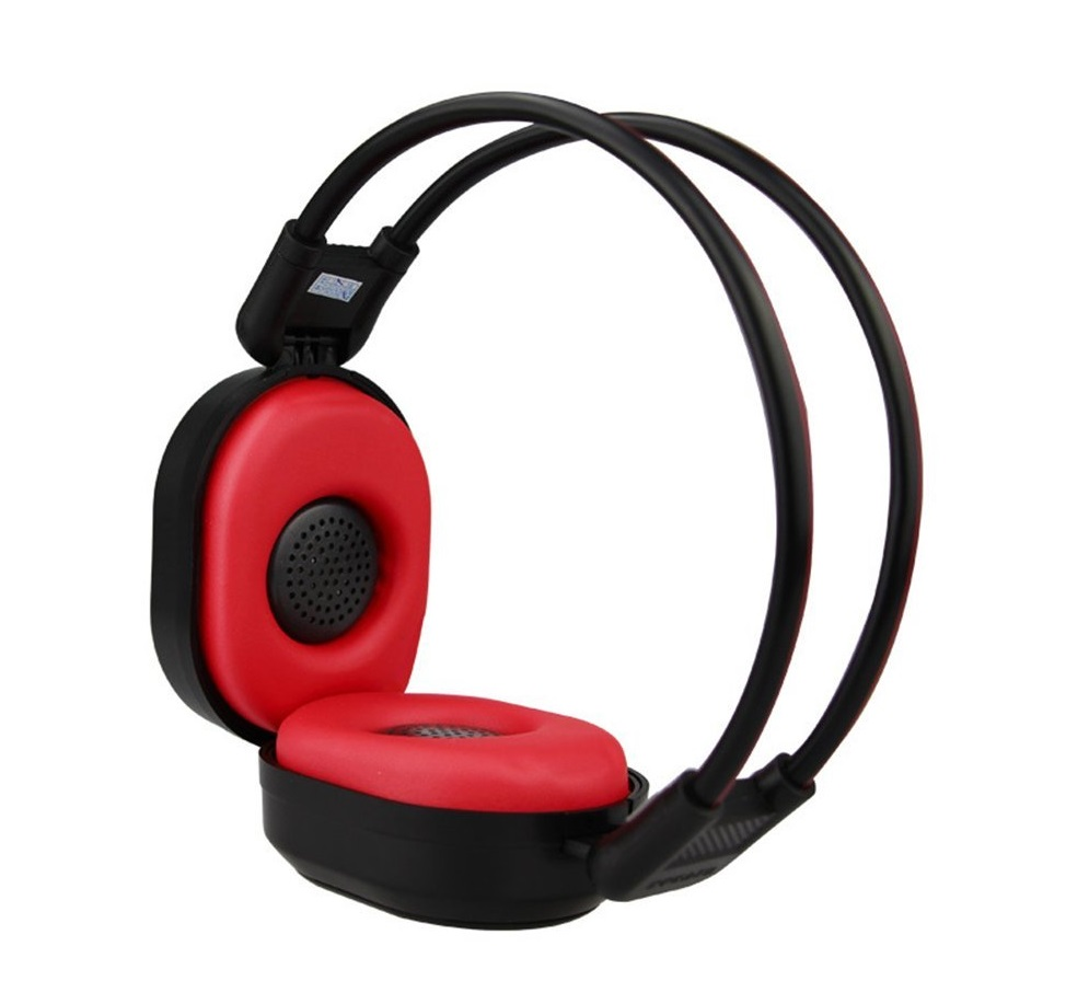 9. PIXNOR Foldable Wireless Headphone Portable FM Stereo Headset Radio (Black Red)