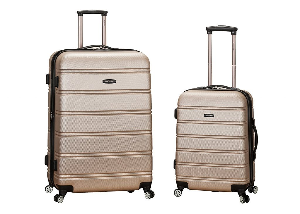 9. Rockland Luggage 20 Inch 28 Inch 2 Piece Expandable Spinner Set, Champagne, One Size