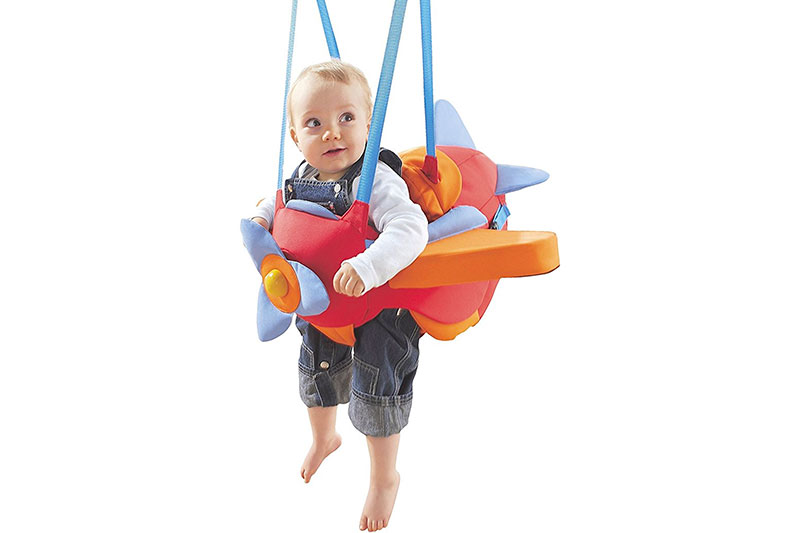 HABA Aircraft Swing – Indoor Mounted Baby Swing with Adjustable Straps