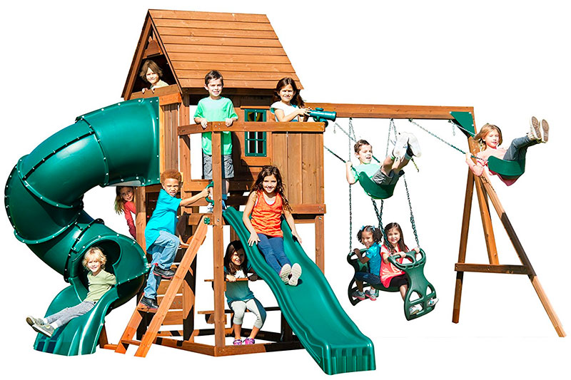 Swing-N-Slide Tremont Tower Play Set with Two Slides Telescope and Climbing Wall