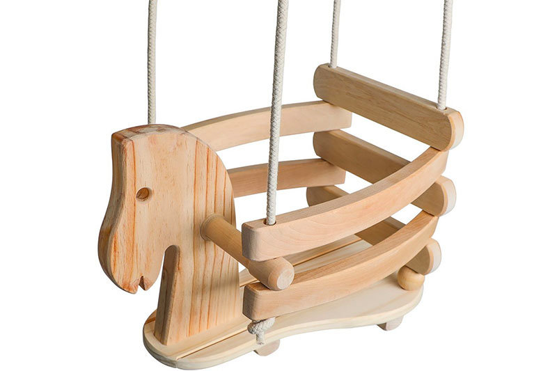 Wooden Horse Swing Set for Toddlers Natural Cotton Ropes Outdoor & Indoor Swing
