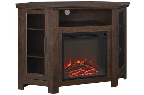 We Furniture Brown Wood Corner Tv Stand With Fireplace