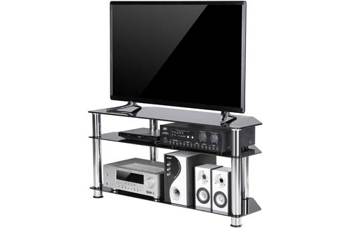 TAVR Black Tempered Glass Corner TV Stand