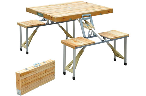 Outsunny Portable Lightweight Folding Suitcase Picnic Table