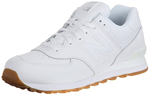 New Balance Men's NB574 Leather Pack Running Shoe-White Shoes