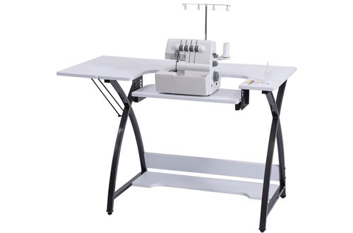 Costway Sewing Table With Adjustable Folding Side Shelf