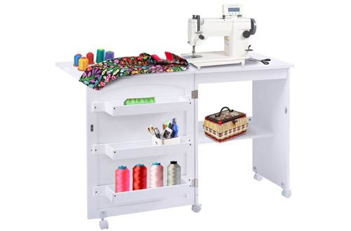 Giantex White Folding Sewing Craft Cart Table Shelves Storage Cabinet Home Furniture W/ Wheels