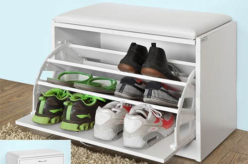 Haotian FSR16-W, White Shoe Storage Bench