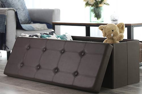 "SONGMICS 43"" Faux Leather Folding Storage Ottoman Bench"
