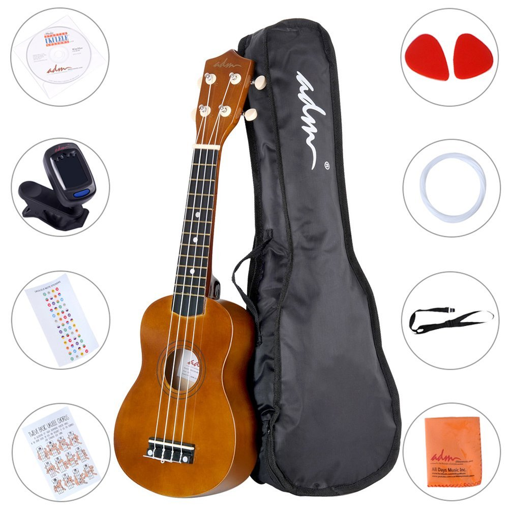 1. ADM Ukulele 21 Inch Soprano Wood Starter Beginner Kit with Teaching CD Gig bag Tuner Fingerboard Sticker Chord card, Mocha