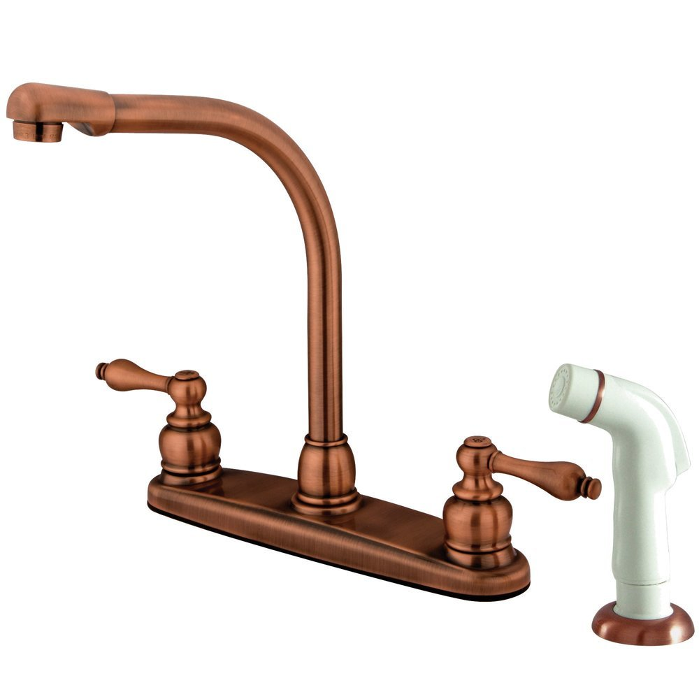 10. Kingston Brass KB716AL Victorian High Arch Kitchen Faucet with Sprayer, Vintage Copper