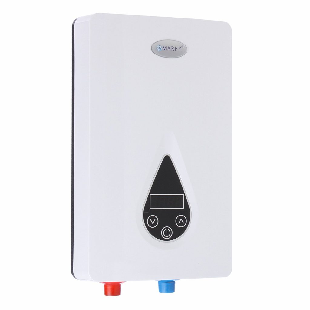 10. Marey ECO110 220V Self-Modulating 11 kW, 3.0 GPM Multiple Points of Use Tankless Electric Water Heater for US Southern Regions, Small, White