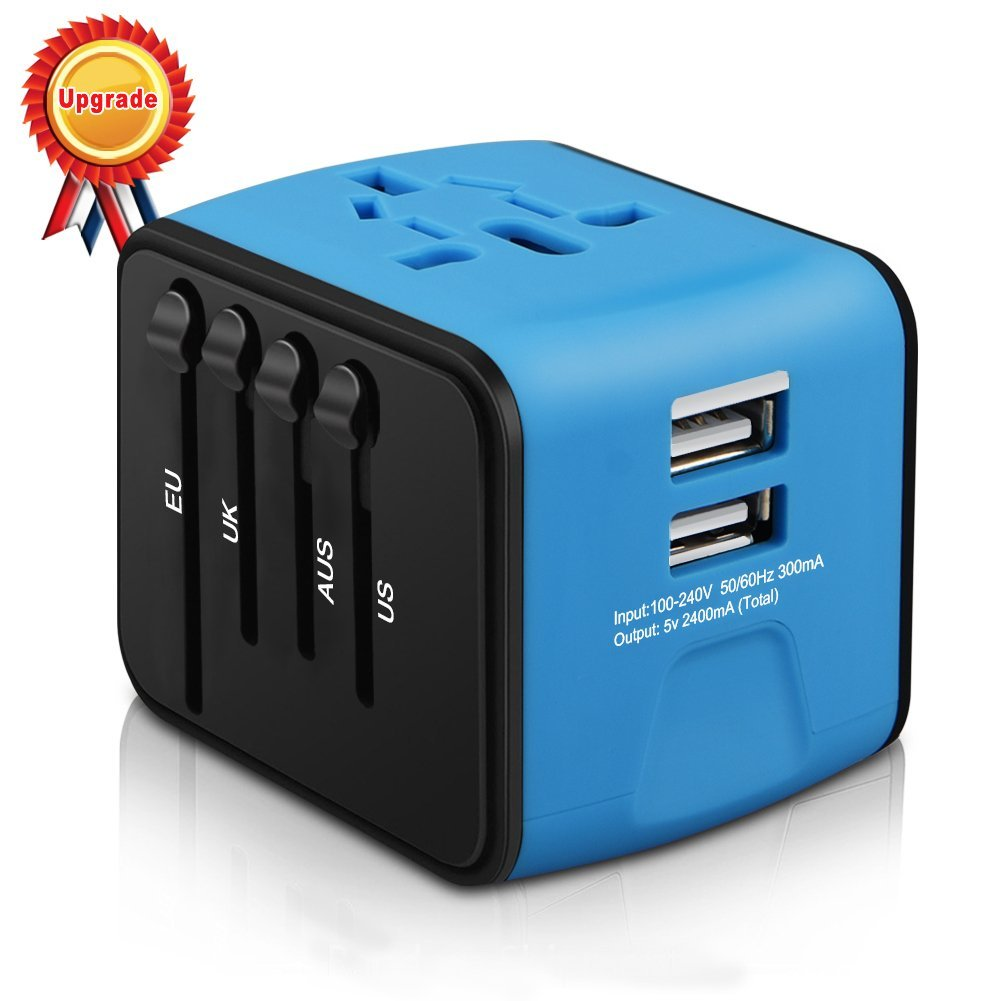 10. Universal Travel Adapter, Iron-M All-in-one International Power Adapter with 2.4A Dual USB, European Adapter Travel Power Adapter Wall Charger