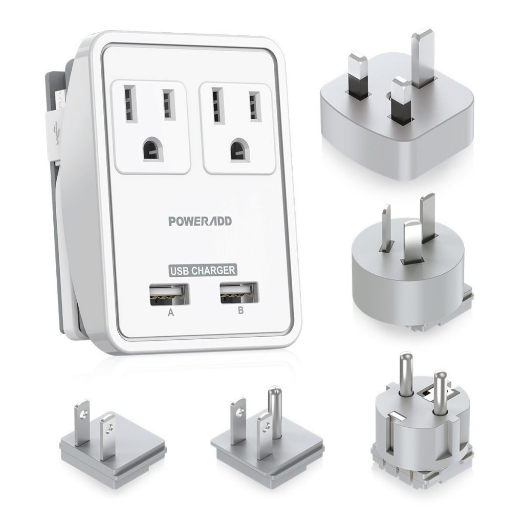 2. Poweradd Travel Power Adapter Kits - Dual 2.4A USB Ports + 2 Outlets Wall Charger with Worldwide Wall Plugs for UK, US, AU, Europe & Asia, Gift Pouch Included