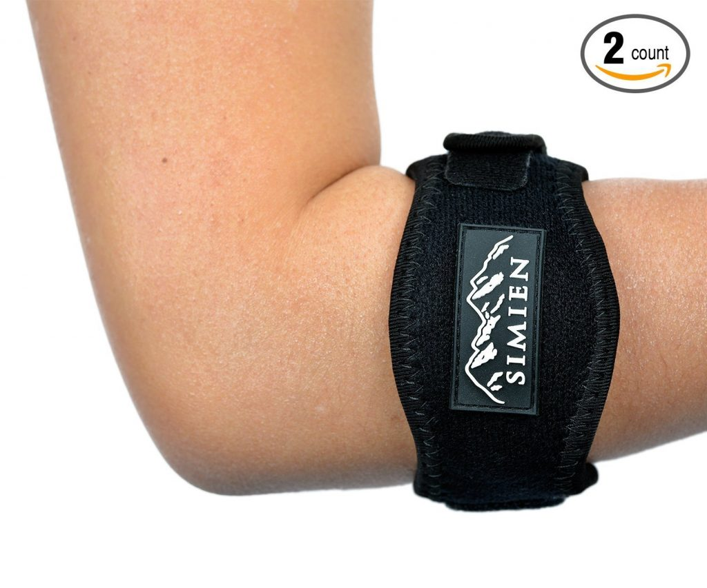 2. SIMIEN Tennis Elbow Brace (2-Count), Tennis & Golfer's Elbow Pain Relief with Compression Pad, Wrist Sweatband and E-Book