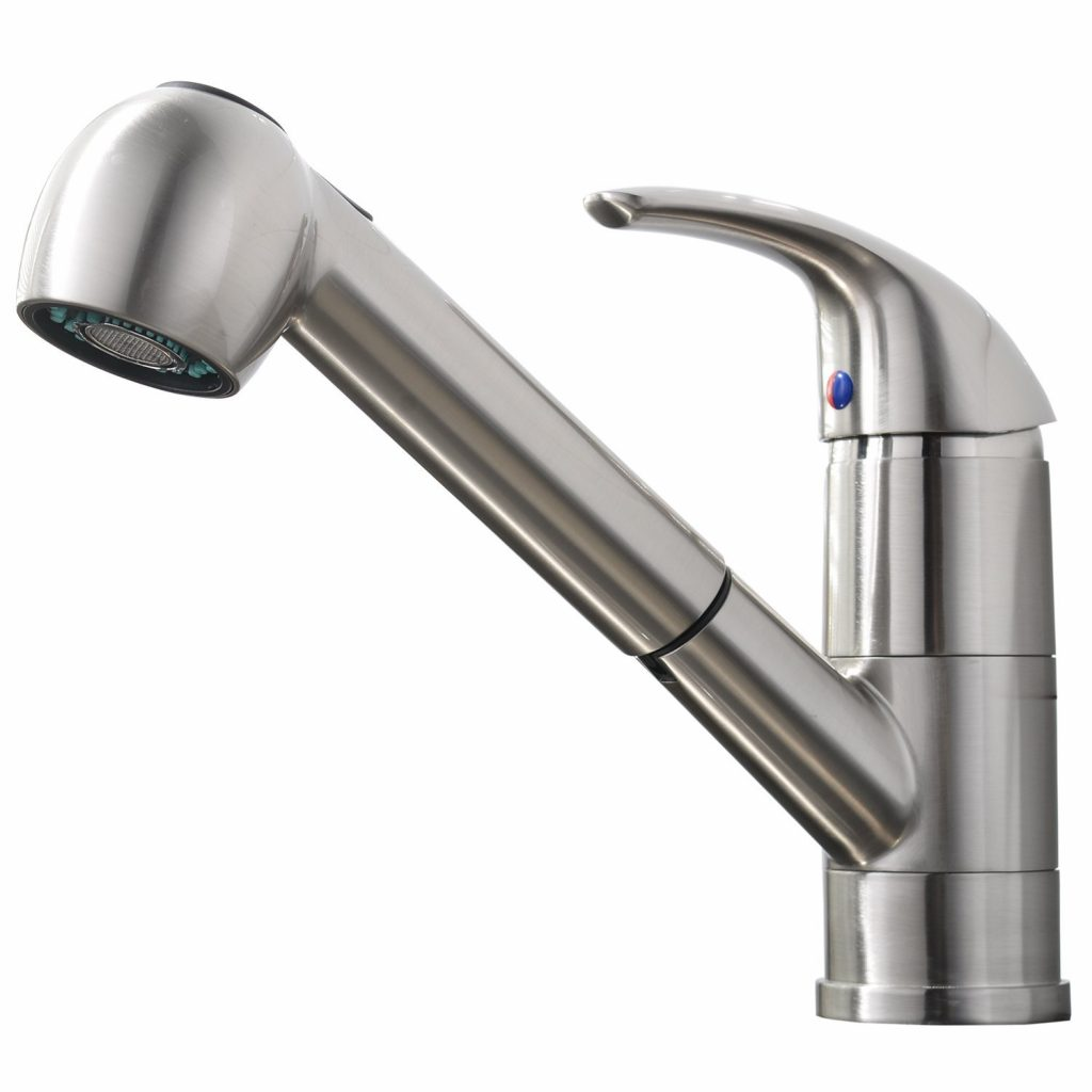 3. Comllen Commercial Stainless Steel Single Handle Pull Out Kitchen Faucet