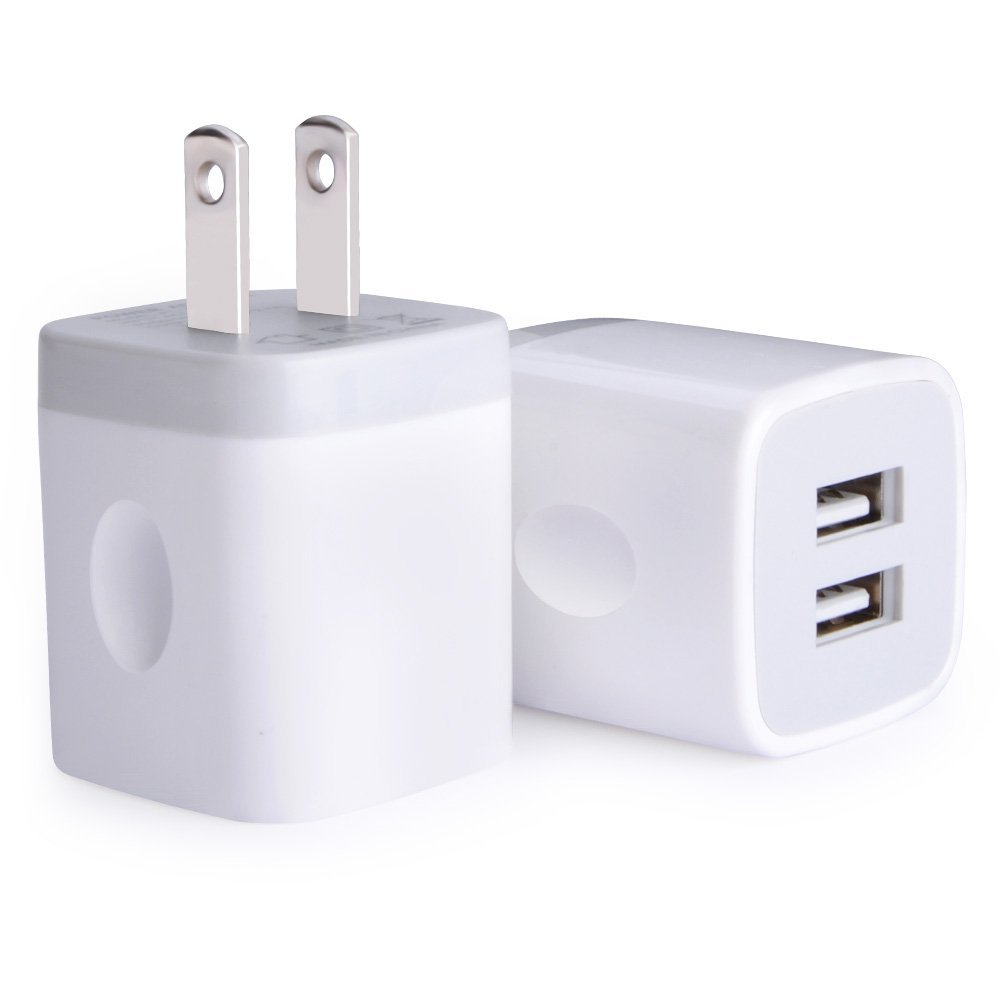 3. USB Wall Charger, Charger Adapter, Ailkin 2-Pack 2.1Amp Dual Port Quick Charger Plug Cube for iPhone
