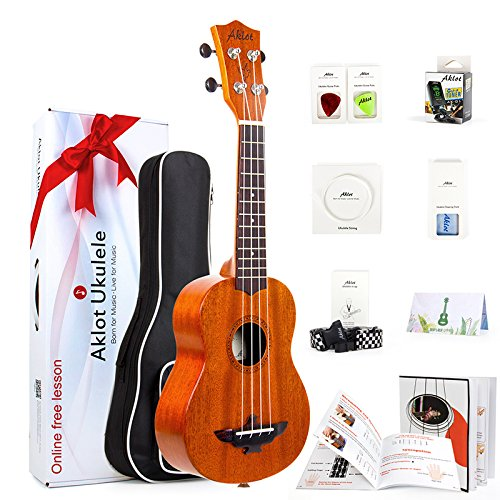 4. Soprano Ukulele 21 Inch Solid Mahogany Ukele Ukelele For Beginners With Free Online Lessons