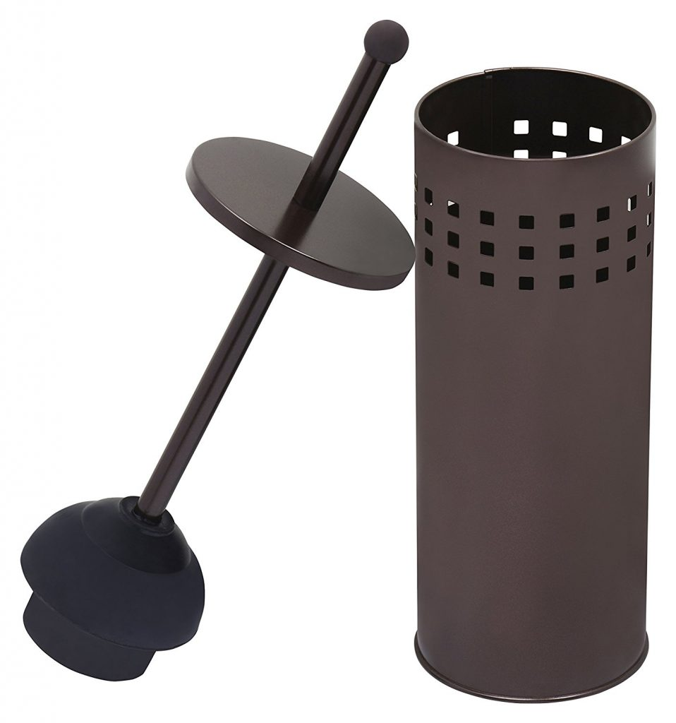 4. Toilet Plunger with Holder for Bathroom, Multi Drain Suitable also for Bathtubs, Quick Dry, Bronze