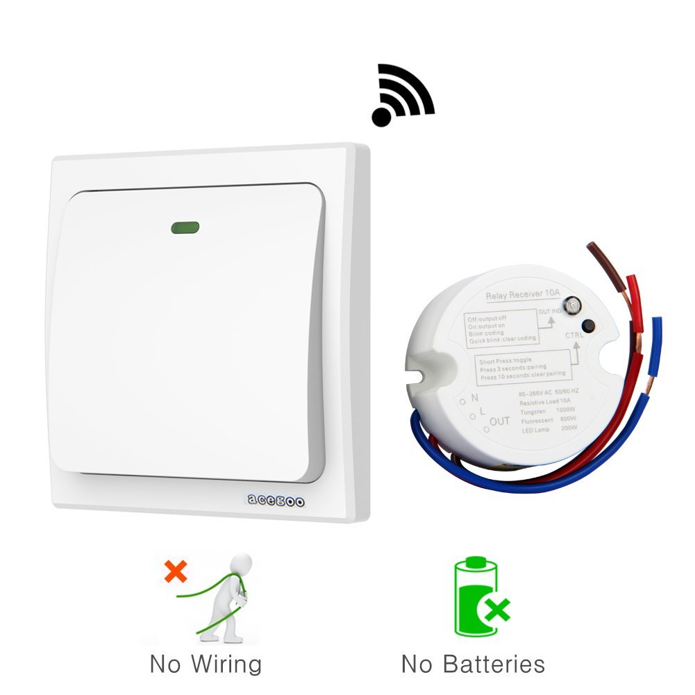 4. acegoo Wireless Lights Switch Kit, No Battery No Wiring, Quick Create