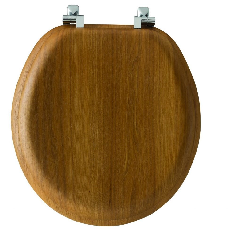5. Mayfair Natural Reflections Toilet Seat with Chrome Hinges, Round, Natural Oak Veneer, 9601CP 378