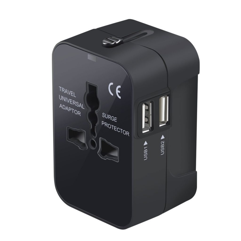 5. Travel Adapter, Worldwide All in One Universal Travel Adaptor Wall AC Power Plug Adapter Wall Charger with Dual USB Charging Ports for USA EU UK AUS Cell P