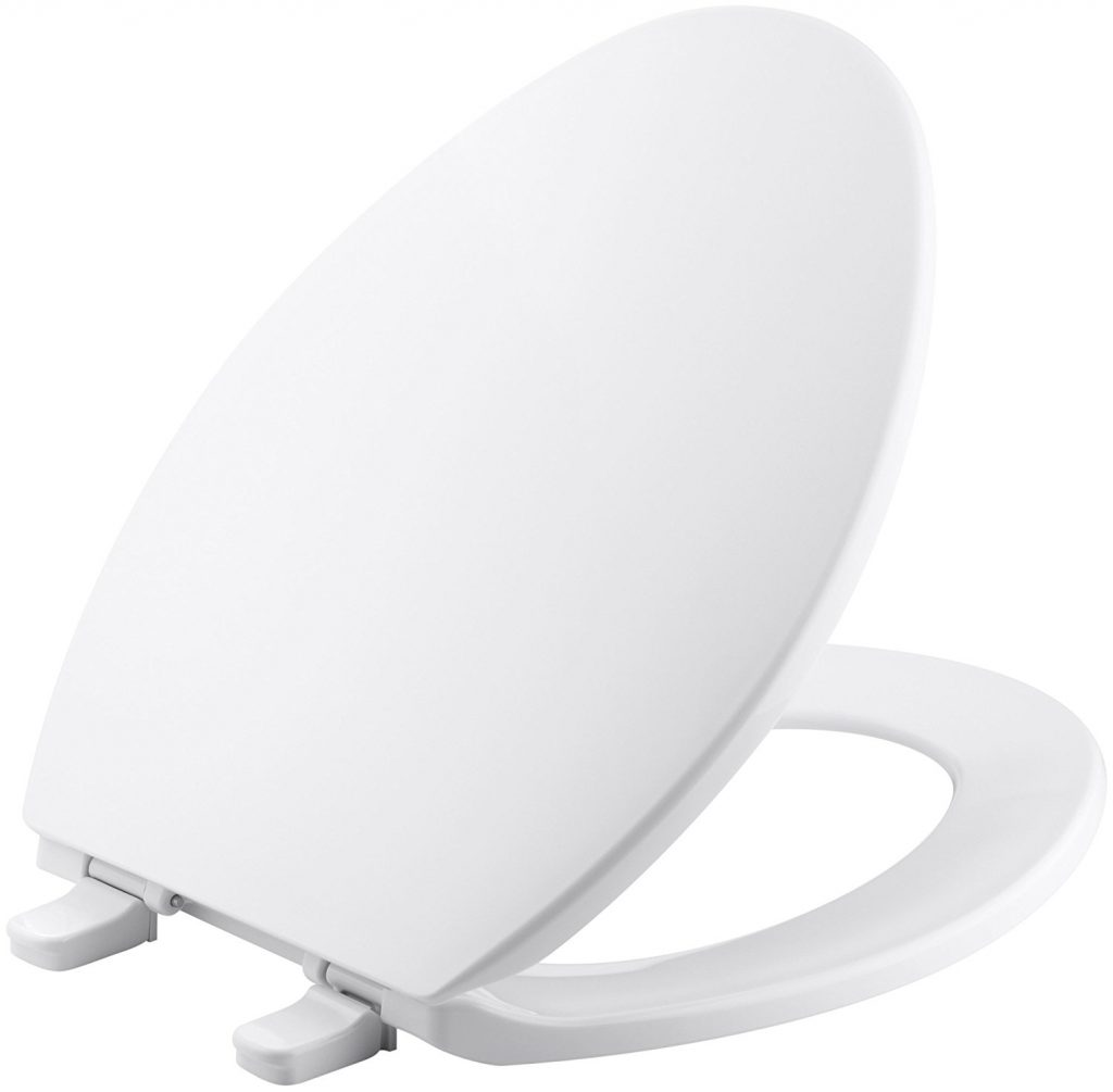 6. Kohler K-4774-0 Brevia with Quick-Release Hinges Elongated Toilet Seat, White