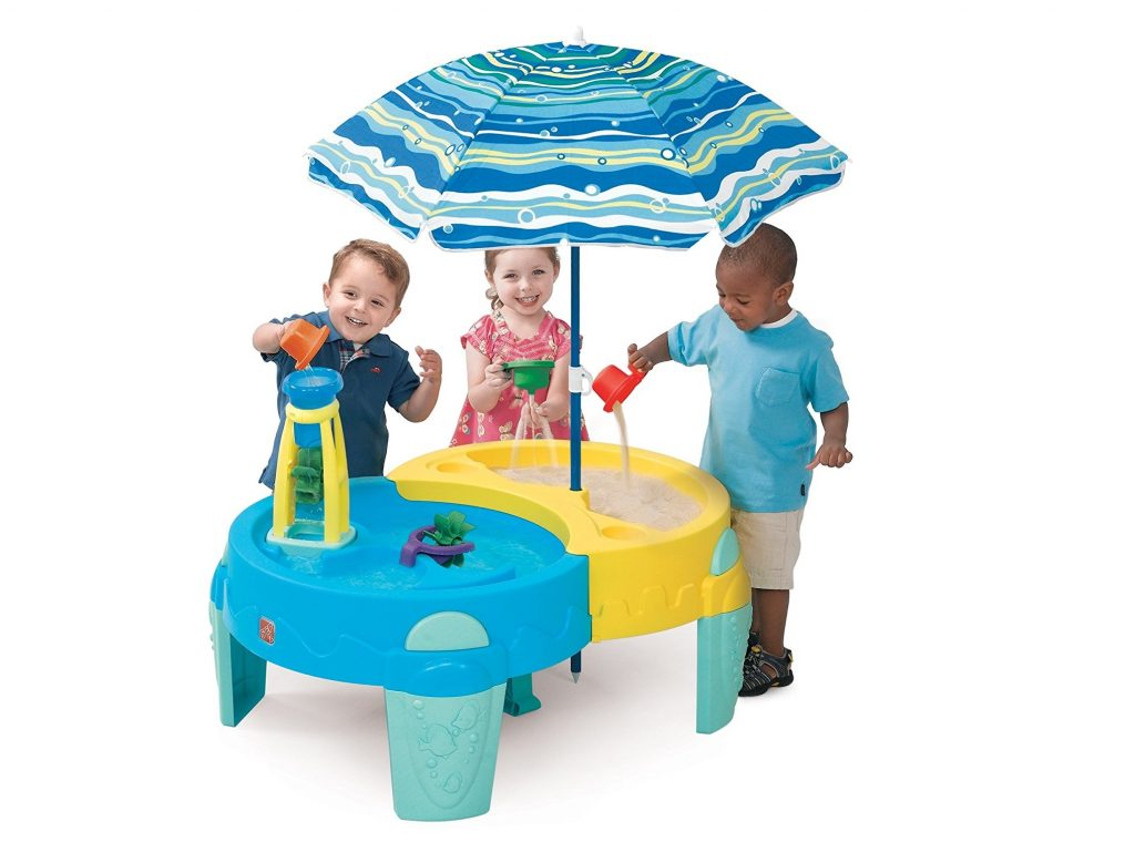 7. Shady Oasis Sand and Water Play Table