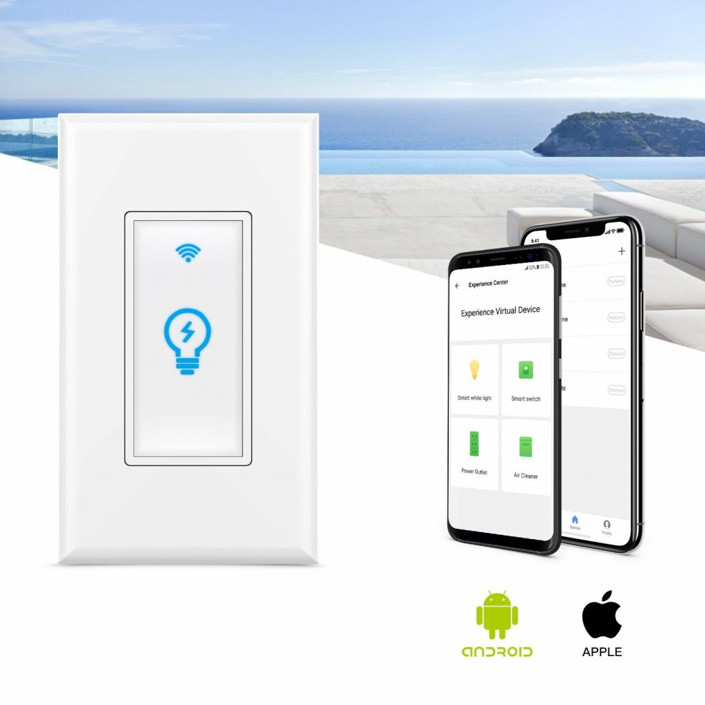 7. Smart Switch, Homeyard Smart Light Switch In-Wall Phone WiFi Remote Control Wireless Switch No Hub Required